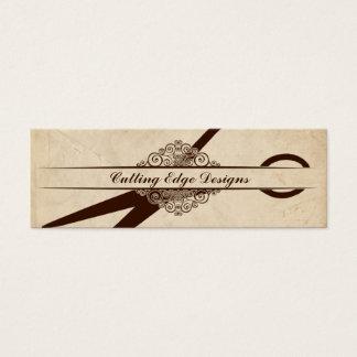 beige textured paper scissors hair stylist shears mini business card