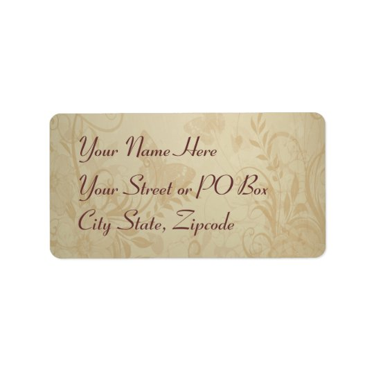Beige Vintage Lace Wedding Address Label