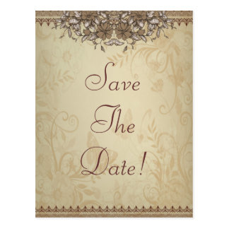 Beige Vintage Lace Wedding Save The Date Postcard