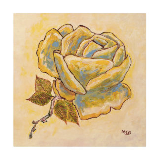 Beige Vintage Retro Flower _ French Rose Wood Canvas