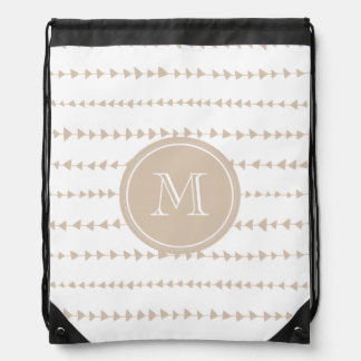 Beige White Aztec Arrows Monogram Drawstring Bag