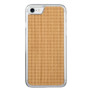 Beige White Gingham Pattern Carved iPhone 8/7 Case