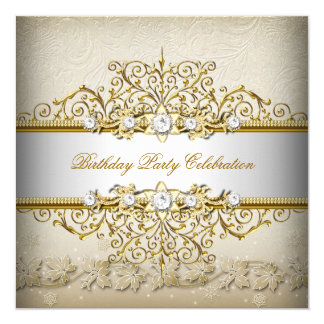 Beige White Gold Cream Elegant Party Card