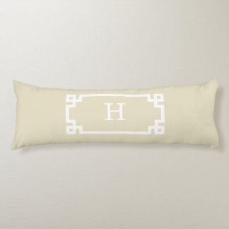 Beige White Greek Key Frame #2 Initial Monogram Body Cushion