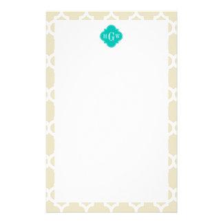 Beige White LG Chevron Teal Name Monogram Stationery
