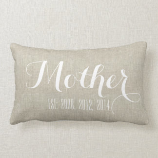 Beige White Linen Personalized Mother's Day Gift Lumbar Cushion