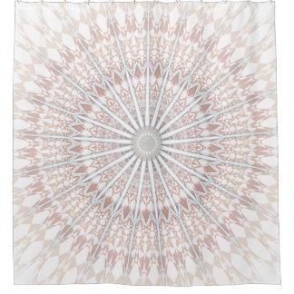 Beige White Mandala Shower Curtain