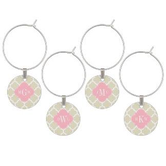 Beige, White Moroccan #5 Pink 3 Initial Monogram Wine Charm