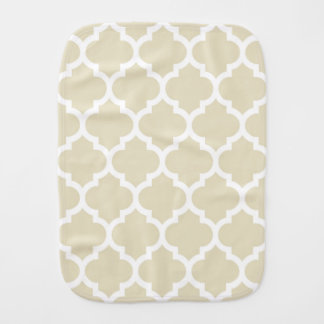 Beige White Moroccan Quatrefoil Pattern #5 Burp Cloth