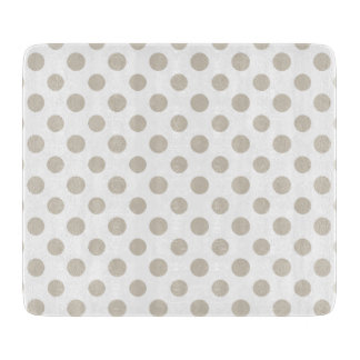 Beige White Polka Dots Pattern Cutting Board