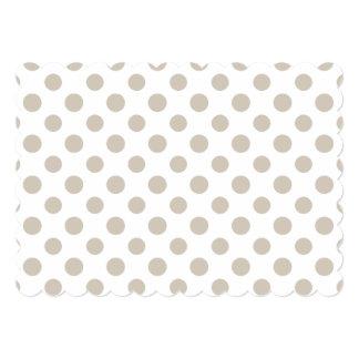 Beige White Polka Dots Pattern 13 Cm X 18 Cm Invitation Card