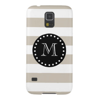 Beige White Stripes Pattern, Black Monogram Galaxy S5 Cases