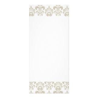 BEIGE WHITE VINTAGE DAMASK PATTERN 2 FULL COLOR RACK CARD