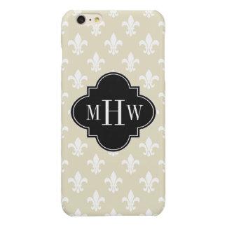 Beige Wht Fleur de Lis Black 3 Initial Monogram iPhone 6 Plus Case