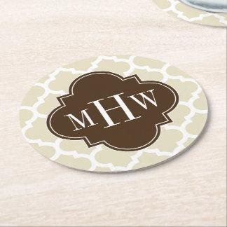 Beige, Wht Moroccan #5 Dk Brown 462c13 3I Monogram Round Paper Coaster