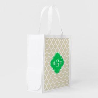 Beige, Wht Moroccan #5 Emerald 3 Initial Monogram Reusable Grocery Bag