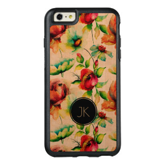 Beige Wood & Red Roses Pattern OtterBox iPhone 6/6s Plus Case