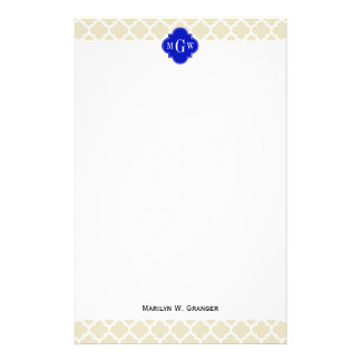 Beige Wt Moroccan 5 Royal Blue 3 Initial Monogram Stationery