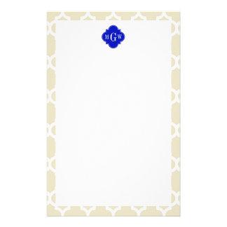 Beige Wt Moroccan 5 Royal Blue 3 Initial Monogram Custom Stationery