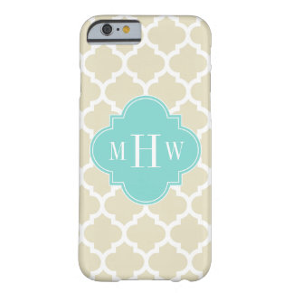 Beige, Wt Moroccan #5 Turquoise 3 Initial Monogram Barely There iPhone 6 Case