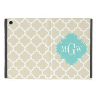 Beige, Wt Moroccan #5 Turquoise 3 Initial Monogram Cover For iPad Mini