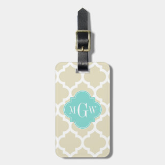 Beige, Wt Moroccan #5 Turquoise 3 Initial Monogram Luggage Tag