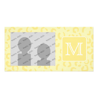 Beige Yellow Leopard Print. Custom Monogram. Card