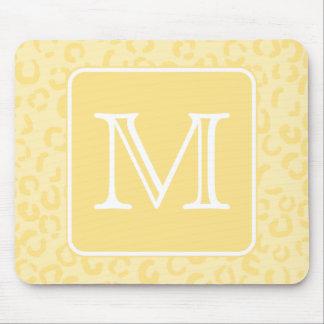 Beige Yellow Leopard Print. Custom Monogram. Mouse Mat