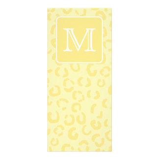 Beige Yellow Leopard Print Custom Monogram Rack Card
