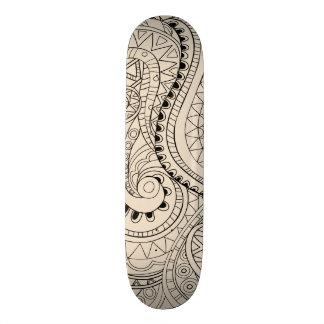 beige zen snakes pattern skate board