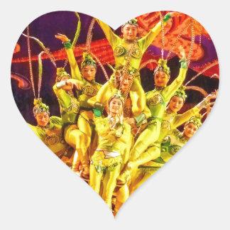 Beijing Circus Acrobats Heart Sticker