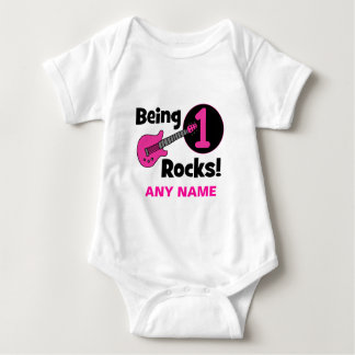 Being 1 Rocks! with Pink Guitar Baby Bodysuit