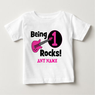 Being 1 Rocks! with Pink Guitar Baby T-Shirt