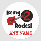 Being 2 Rocks! with Guitar Classic Round Sticker