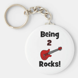 Being 2 Rocks!  with Guitar Basic Round Button Key Ring