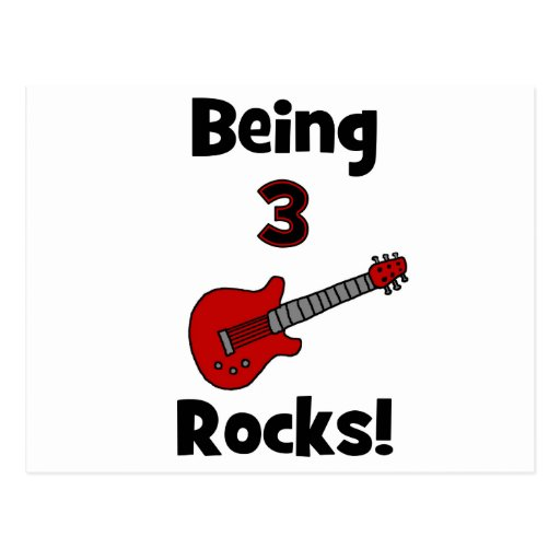 Being 3 Rocks! With Guitar Rockstar Rocker Postcards
