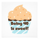 Being 40 is Sweet Birthday T-shirts and Gifts Personalized Invites