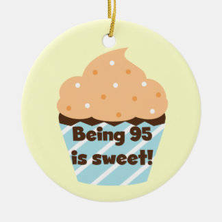 Being 95 is Sweet Birthday T-shirts and Gifts Double-Sided Ceramic Round Christmas Ornament
