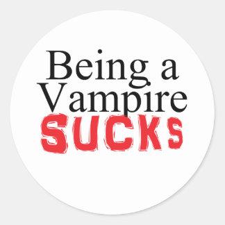 Being a Vampire Sucks Round Sticker