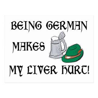Being German Makes My Liver Hurt Postcard