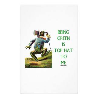 Being Green Is Top Hat To Me Frog Environmental Customized Stationery