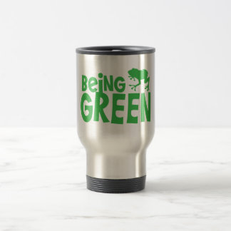 BEING GREEN with cute little frog Coffee Mugs