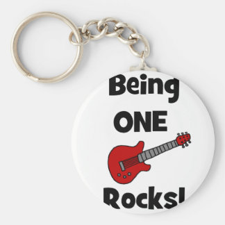 Being One (1) Rocks! Basic Round Button Key Ring