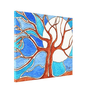 Being Together is Beautiful - Watercolor Trees Stretched Canvas Print