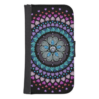Bejeweled Diamond Heart Explosion Samsung S4 Wallet Case