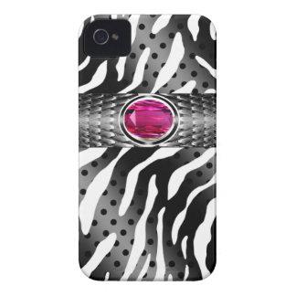 Bejeweled Spotted Zebra w/Gemstone Embellishment iPhone 4 Case-Mate Case