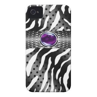 Bejeweled Spotted Zebra w/Gemstone Embellishment iPhone 4 Cases
