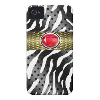 Bejeweled Spotted Zebra w/Gemstone Embellishment Case-Mate iPhone 4 Cases
