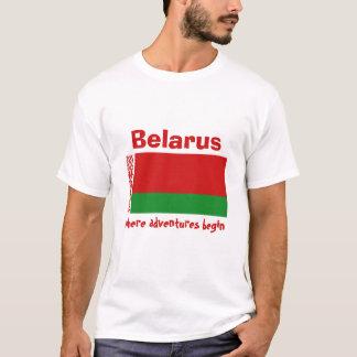 Belarus Flag + Map + Text T-Shirt