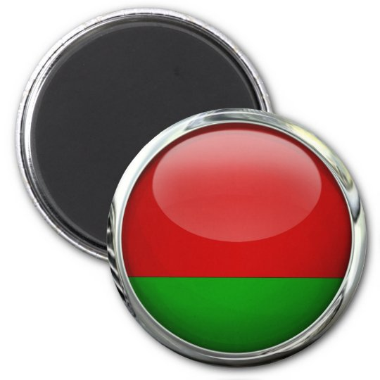 Belarus Flag Round Glass Ball 6 Cm Round Magnet